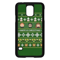 Merry Nerdmas! Ugly Christma Green Background Samsung Galaxy S5 Case (black) by Onesevenart