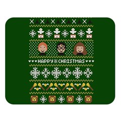 Merry Nerdmas! Ugly Christma Green Background Double Sided Flano Blanket (large)  by Onesevenart