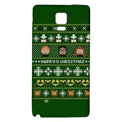 Merry Nerdmas! Ugly Christma Green Background Galaxy Note 4 Back Case by Onesevenart