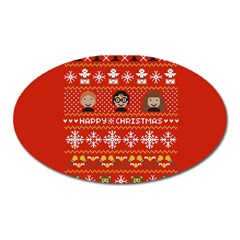 Merry Nerdmas! Ugly Christma Red Background Oval Magnet by Onesevenart