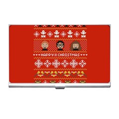 Merry Nerdmas! Ugly Christma Red Background Business Card Holders by Onesevenart