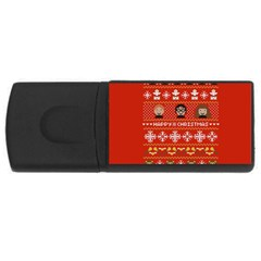 Merry Nerdmas! Ugly Christma Red Background USB Flash Drive Rectangular (4 GB)  by Onesevenart