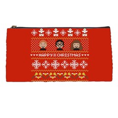 Merry Nerdmas! Ugly Christma Red Background Pencil Cases by Onesevenart