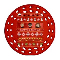 Merry Nerdmas! Ugly Christma Red Background Round Filigree Ornament (2Side) by Onesevenart