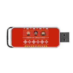 Merry Nerdmas! Ugly Christma Red Background Portable Usb Flash (two Sides) by Onesevenart