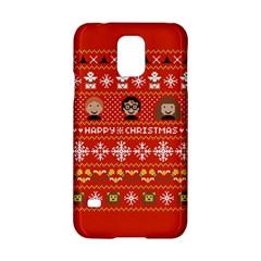 Merry Nerdmas! Ugly Christma Red Background Samsung Galaxy S5 Hardshell Case  by Onesevenart