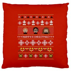 Merry Nerdmas! Ugly Christma Red Background Large Flano Cushion Case (one Side) by Onesevenart