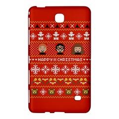 Merry Nerdmas! Ugly Christma Red Background Samsung Galaxy Tab 4 (8 ) Hardshell Case  by Onesevenart