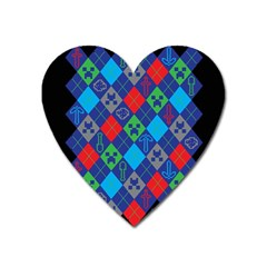 Minecraft Ugly Holiday Christmas Black Background Heart Magnet by Onesevenart