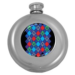 Minecraft Ugly Holiday Christmas Black Background Round Hip Flask (5 Oz) by Onesevenart