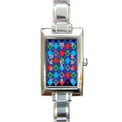 Minecraft Ugly Holiday Christmas Blue Background Rectangle Italian Charm Watch by Onesevenart