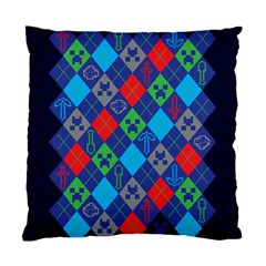 Minecraft Ugly Holiday Christmas Blue Background Standard Cushion Case (Two Sides)