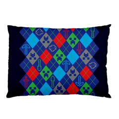 Minecraft Ugly Holiday Christmas Blue Background Pillow Case by Onesevenart