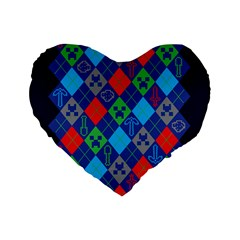 Minecraft Ugly Holiday Christmas Blue Background Standard 16  Premium Heart Shape Cushions by Onesevenart