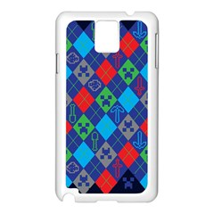 Minecraft Ugly Holiday Christmas Blue Background Samsung Galaxy Note 3 N9005 Case (white) by Onesevenart