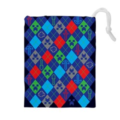Minecraft Ugly Holiday Christmas Blue Background Drawstring Pouches (Extra Large) by Onesevenart