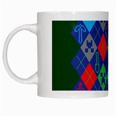 Minecraft Ugly Holiday Christmas Green Background White Mugs by Onesevenart