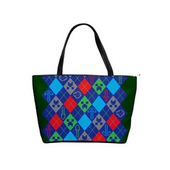 Minecraft Ugly Holiday Christmas Green Background Shoulder Handbags by Onesevenart