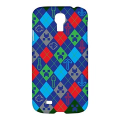 Minecraft Ugly Holiday Christmas Green Background Samsung Galaxy S4 I9500/i9505 Hardshell Case by Onesevenart