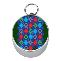 Minecraft Ugly Holiday Christmas Green Background Mini Silver Compasses by Onesevenart
