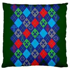 Minecraft Ugly Holiday Christmas Green Background Large Flano Cushion Case (two Sides) by Onesevenart