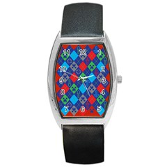 Minecraft Ugly Holiday Christmas Red Background Barrel Style Metal Watch by Onesevenart