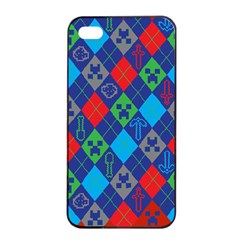 Minecraft Ugly Holiday Christmas Red Background Apple Iphone 4/4s Seamless Case (black) by Onesevenart