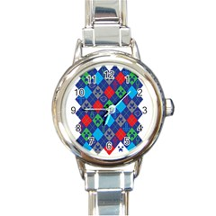 Minecraft Ugly Holiday Christmas Round Italian Charm Watch by Onesevenart