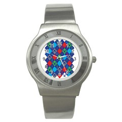 Minecraft Ugly Holiday Christmas Stainless Steel Watch by Onesevenart