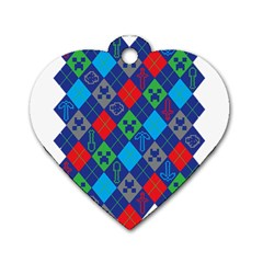 Minecraft Ugly Holiday Christmas Dog Tag Heart (two Sides) by Onesevenart