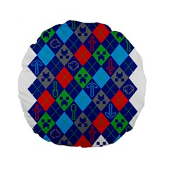 Minecraft Ugly Holiday Christmas Standard 15  Premium Round Cushions by Onesevenart