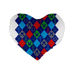 Minecraft Ugly Holiday Christmas Standard 16  Premium Heart Shape Cushions by Onesevenart