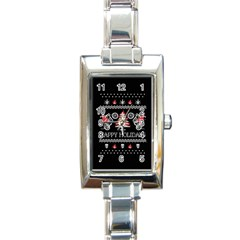 Motorcycle Santa Happy Holidays Ugly Christmas Black Background Rectangle Italian Charm Watch by Onesevenart