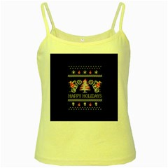 Motorcycle Santa Happy Holidays Ugly Christmas Black Background Yellow Spaghetti Tank by Onesevenart