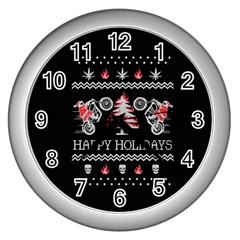 Motorcycle Santa Happy Holidays Ugly Christmas Black Background Wall Clocks (silver)  by Onesevenart