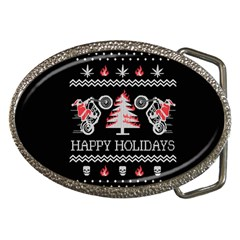 Motorcycle Santa Happy Holidays Ugly Christmas Black Background Belt Buckles by Onesevenart