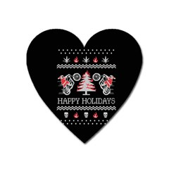Motorcycle Santa Happy Holidays Ugly Christmas Black Background Heart Magnet by Onesevenart