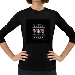 Motorcycle Santa Happy Holidays Ugly Christmas Black Background Women s Long Sleeve Dark T Shirts by Onesevenart