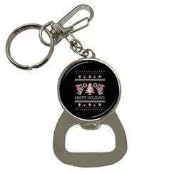 Motorcycle Santa Happy Holidays Ugly Christmas Black Background Bottle Opener Key Chains by Onesevenart