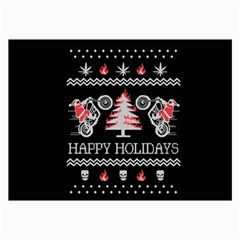 Motorcycle Santa Happy Holidays Ugly Christmas Black Background Collage Prints by Onesevenart