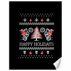 Motorcycle Santa Happy Holidays Ugly Christmas Black Background Canvas 12  X 16   by Onesevenart