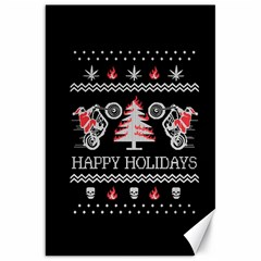 Motorcycle Santa Happy Holidays Ugly Christmas Black Background Canvas 20  X 30   by Onesevenart