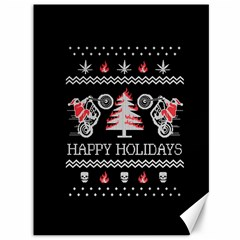 Motorcycle Santa Happy Holidays Ugly Christmas Black Background Canvas 36  X 48   by Onesevenart