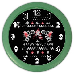 Motorcycle Santa Happy Holidays Ugly Christmas Black Background Color Wall Clocks by Onesevenart