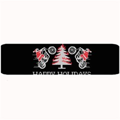 Motorcycle Santa Happy Holidays Ugly Christmas Black Background Large Bar Mats by Onesevenart