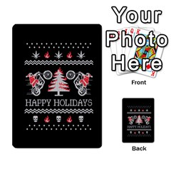Motorcycle Santa Happy Holidays Ugly Christmas Black Background Multi Purpose Cards (rectangle)  by Onesevenart