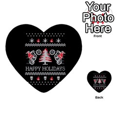 Motorcycle Santa Happy Holidays Ugly Christmas Black Background Multi Purpose Cards (heart)  by Onesevenart