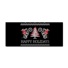 Motorcycle Santa Happy Holidays Ugly Christmas Black Background Hand Towel by Onesevenart