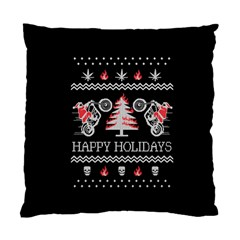 Motorcycle Santa Happy Holidays Ugly Christmas Black Background Standard Cushion Case (one Side) by Onesevenart