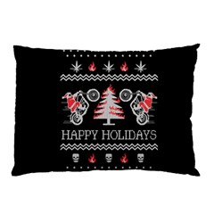 Motorcycle Santa Happy Holidays Ugly Christmas Black Background Pillow Case by Onesevenart
